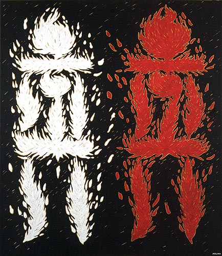 Adam Kadmon, factor masculino y femenino, 1996. Oleo sobre tela, 140 x 120 cm