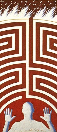 Camino de redención, 2000. Oleo sobre tela, 230 x 100 cm