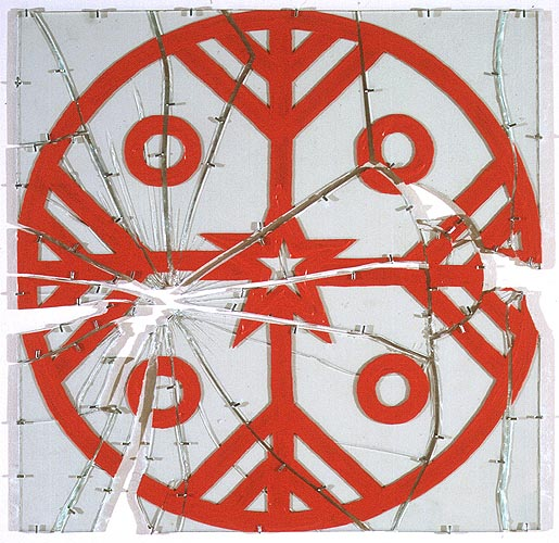 Kultrun estelar, 1996. Acrílico sobre vidrio, 70 x 70 cm