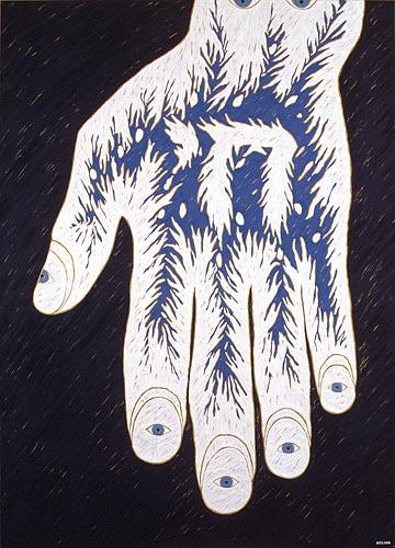 La mano que ve, 1996. Oleo sobre tela, 140 x 100 cm