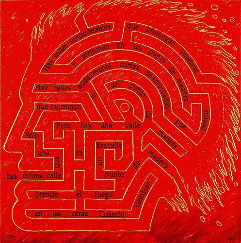 Laberinto de fuego, 1997. Oleo sobre tela, 130 x 130 cm