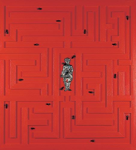 Pedrito Hallado Icono devocional, 2004. Técnica mixta, 83 x 76 cm