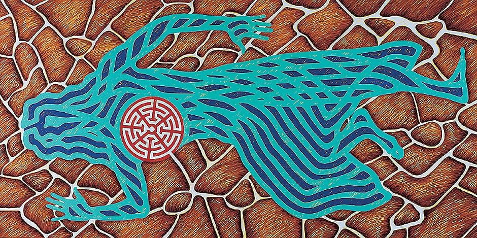 Difunta correa, vertiente de sanidad, 2004. Oleo sobre tela, 90 x 180 cm