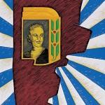Abrazada a mi pueblo, 2004. Oleo sobre tela, 160 x 90 cm